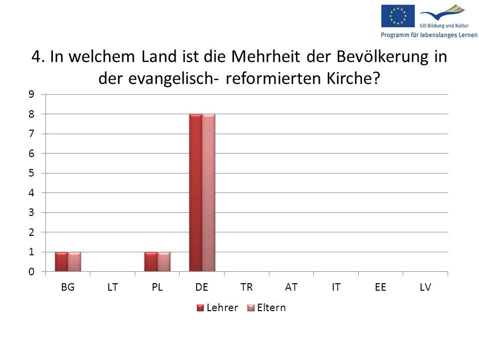 4. In welchem Land ist die Mehrheit der Bevölkerung in der evangelisch- reformierten Kirche