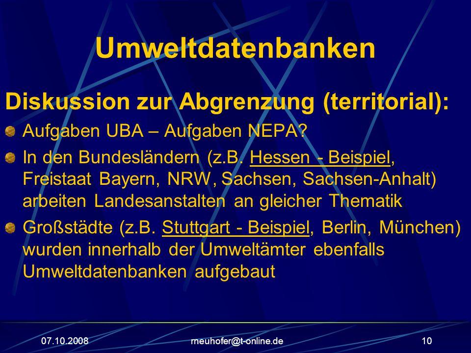 Umweltdatenbanken Diskussion zur Abgrenzung (territorial):