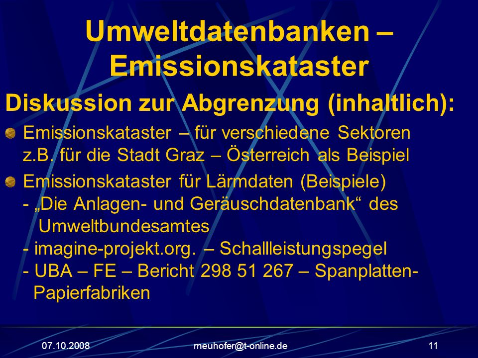 Umweltdatenbanken – Emissionskataster