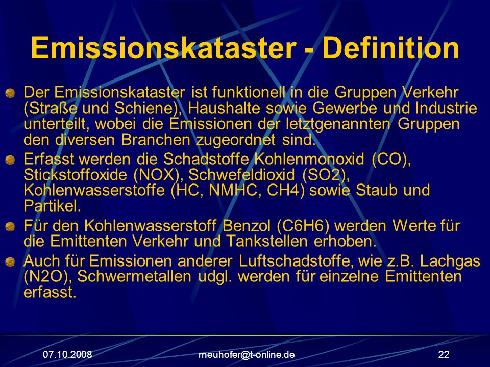 Emissionskataster - Definition