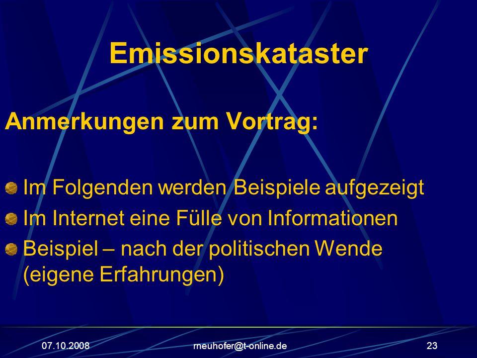 Emissionskataster Anmerkungen zum Vortrag: