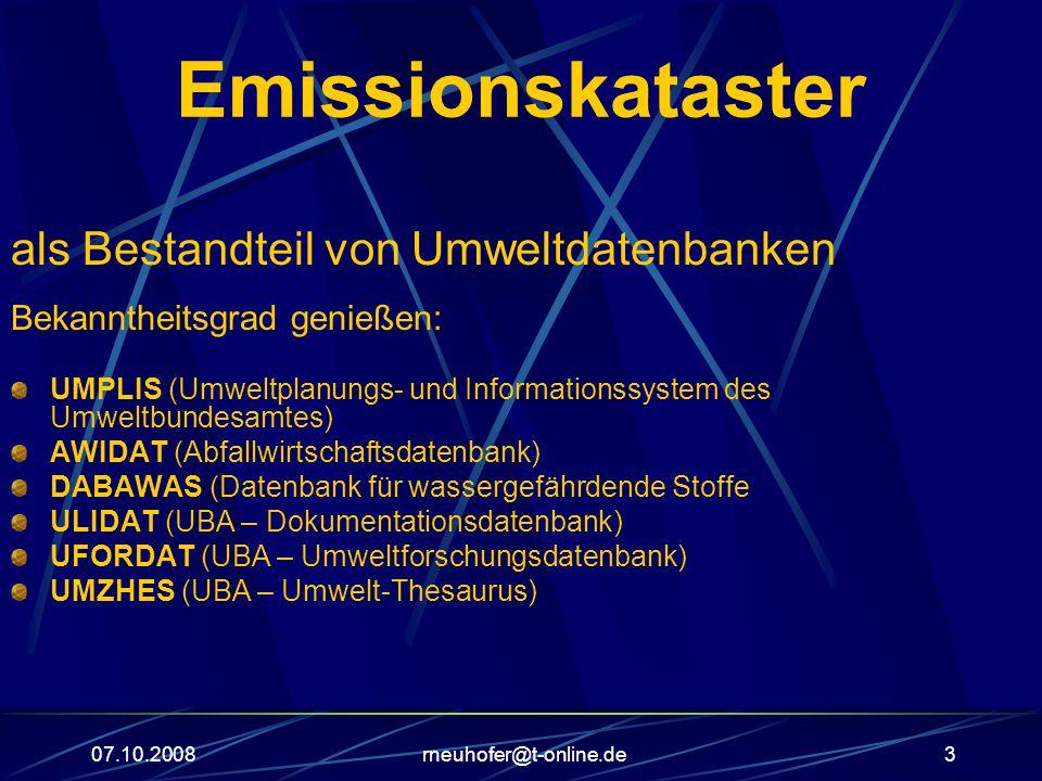 Emissionskataster als Bestandteil von Umweltdatenbanken