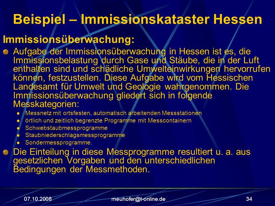 Beispiel – Immissionskataster Hessen