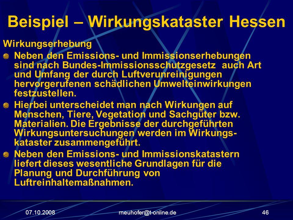 Beispiel – Wirkungskataster Hessen