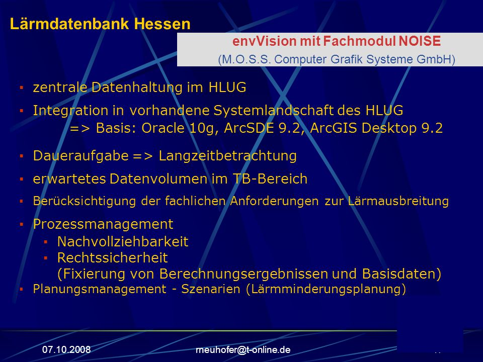 Lärmdatenbank Hessen envVision mit Fachmodul NOISE