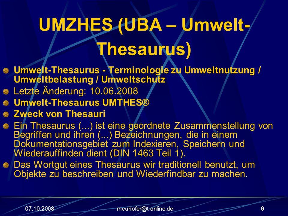 UMZHES (UBA – Umwelt-Thesaurus)