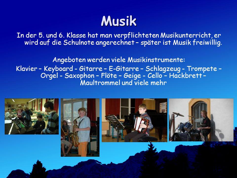 Angeboten werden viele Musikinstrumente: