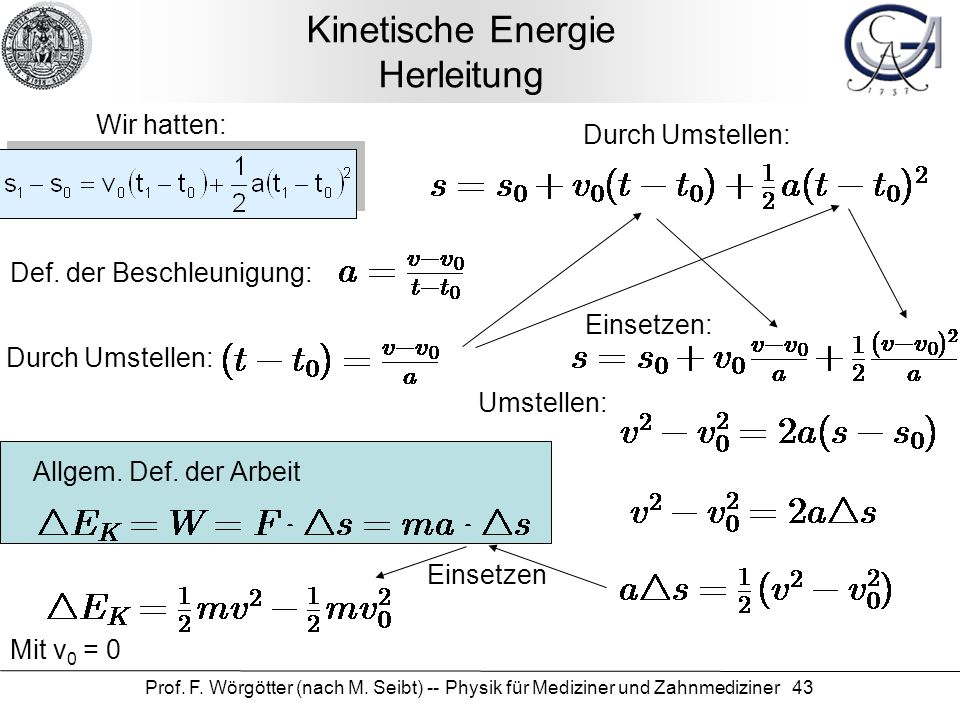 Kinetische Energie Herleitung