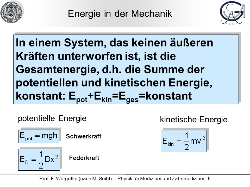 Energie in der Mechanik