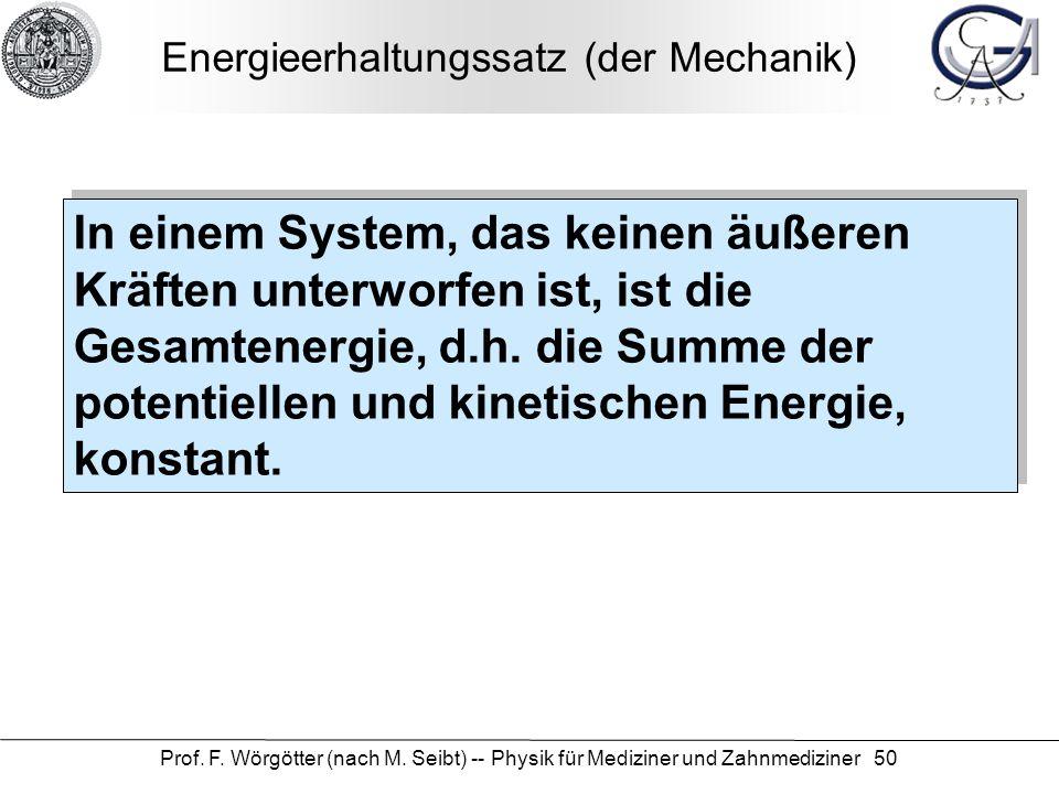 Energieerhaltungssatz (der Mechanik)