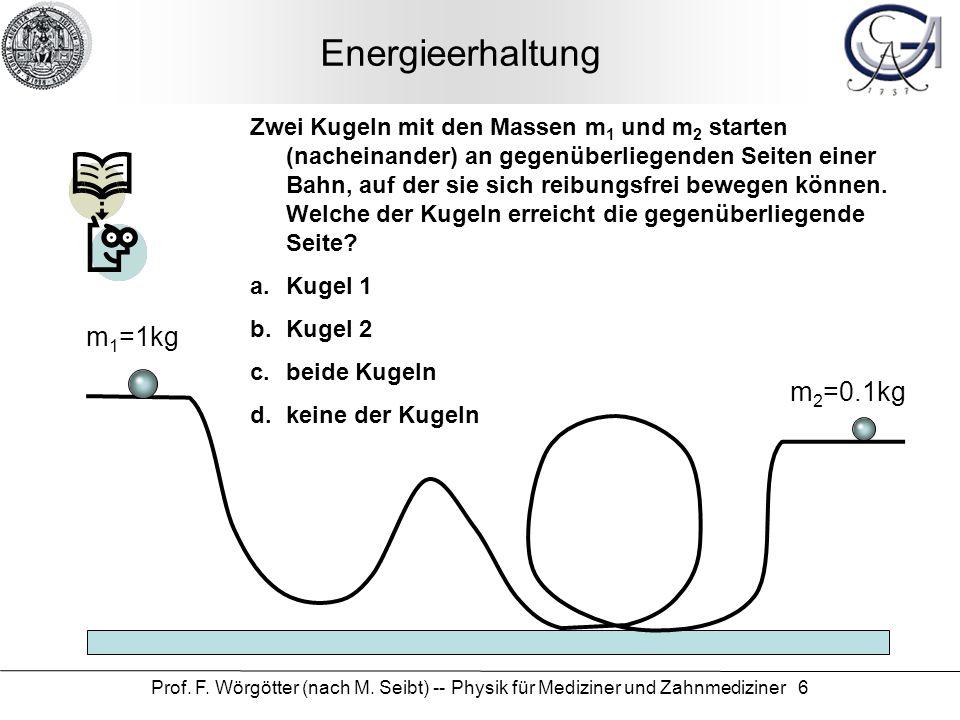 Energieerhaltung m1=1kg m2=0.1kg