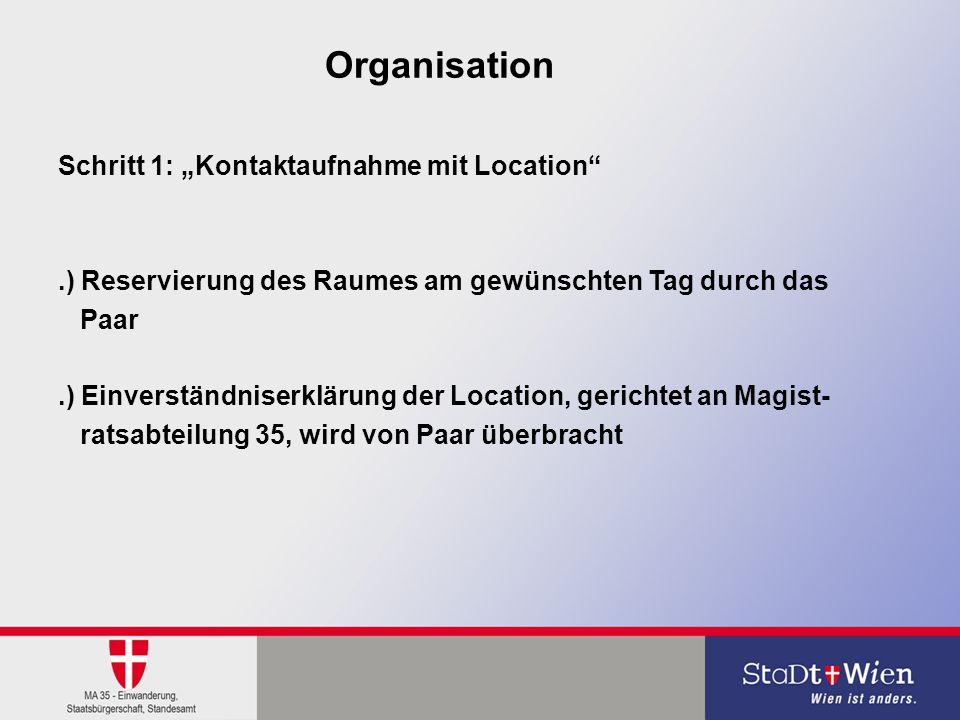 """Organisation Schritt 1: """"Kontaktaufnahme mit Location"""