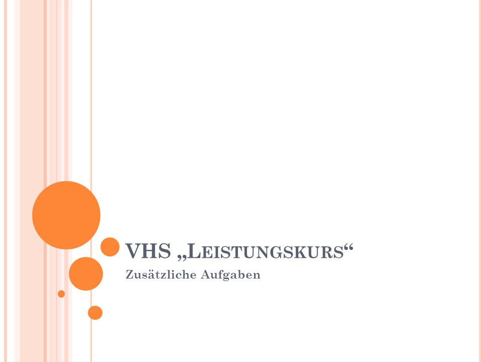 """VHS """"Leistungskurs Zusätzliche Aufgaben"""