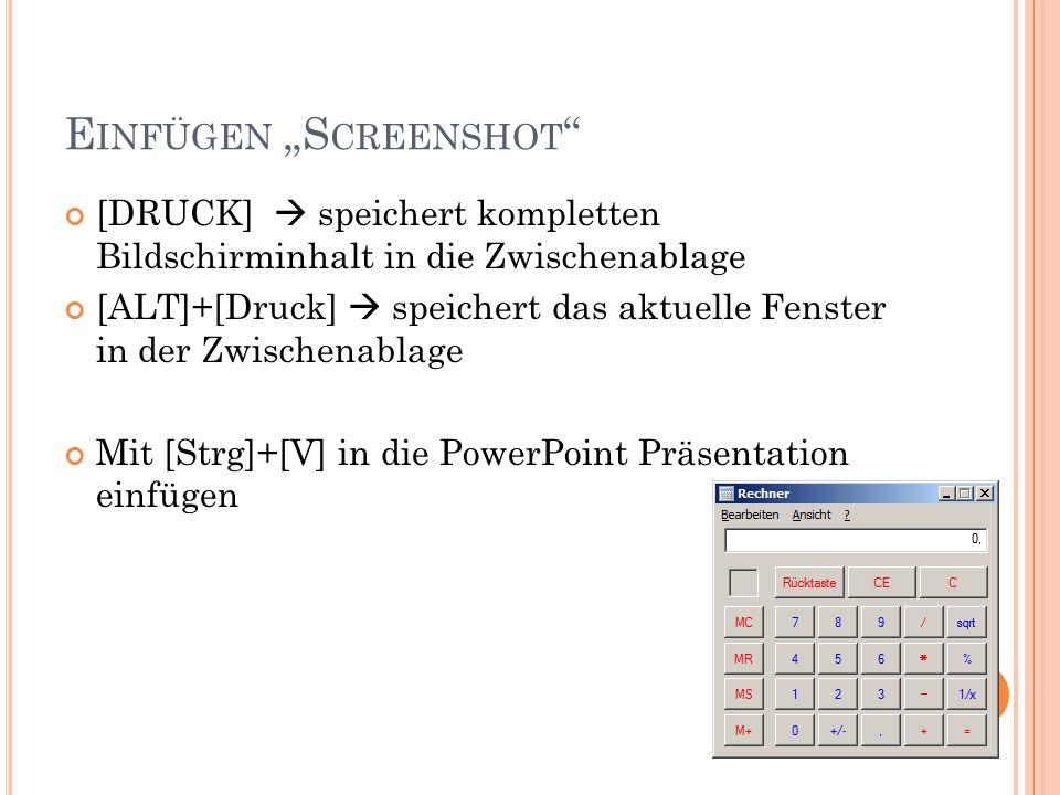 """Einfügen """"Screenshot"""