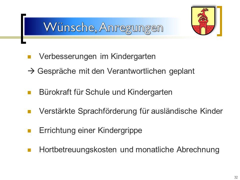 Wünsche, Anregungen Verbesserungen im Kindergarten