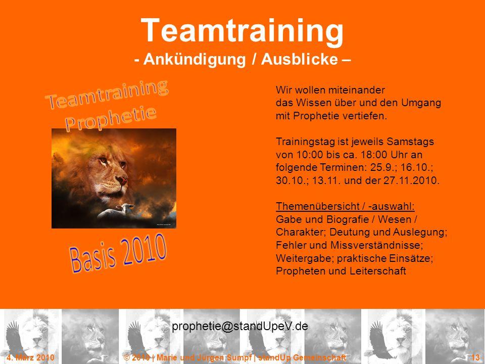 Teamtraining - Ankündigung / Ausblicke –