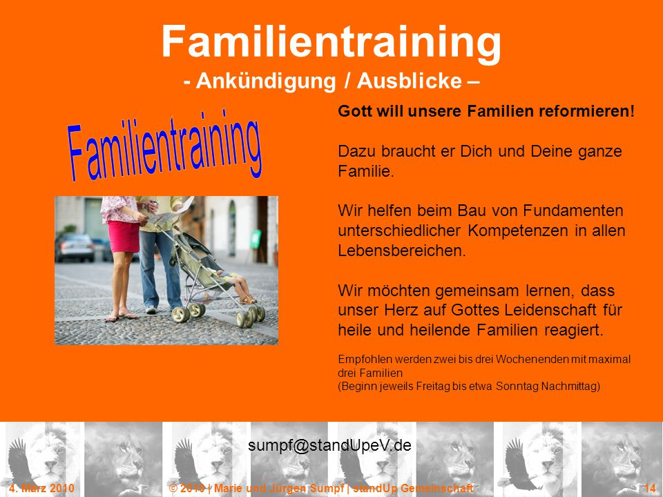 Familientraining - Ankündigung / Ausblicke –