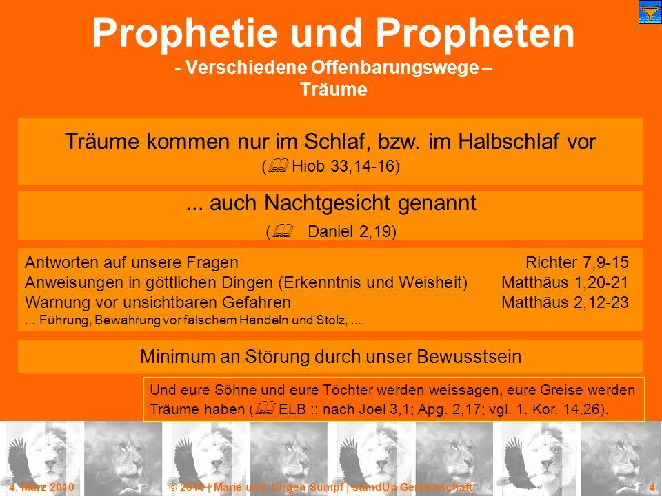 Prophetie und Propheten - Verschiedene Offenbarungswege – Träume
