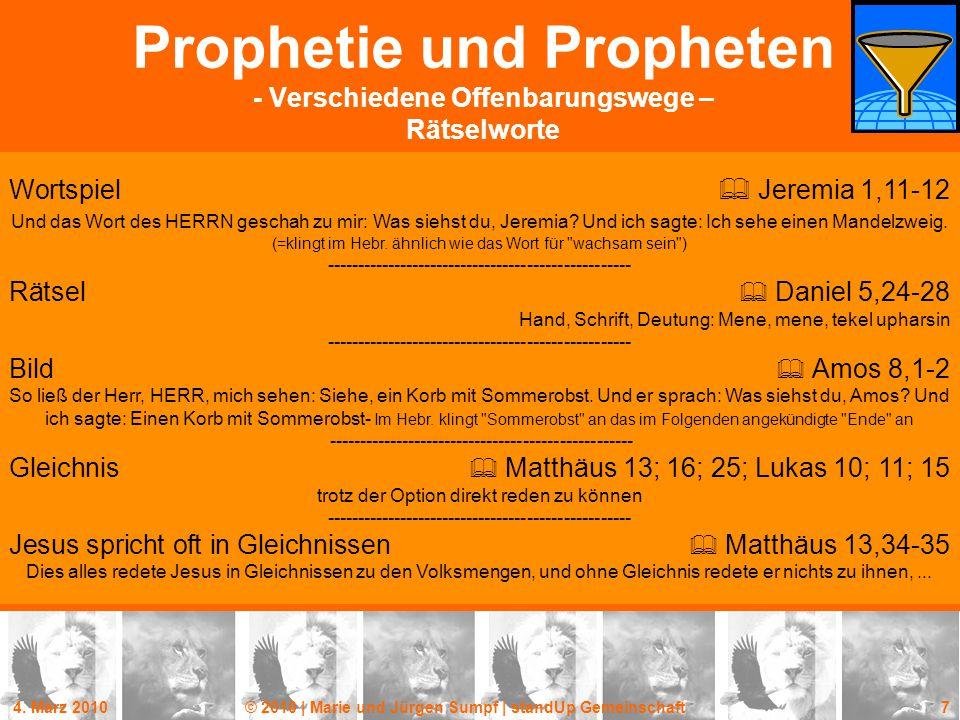 Prophetie und Propheten - Verschiedene Offenbarungswege – Rätselworte