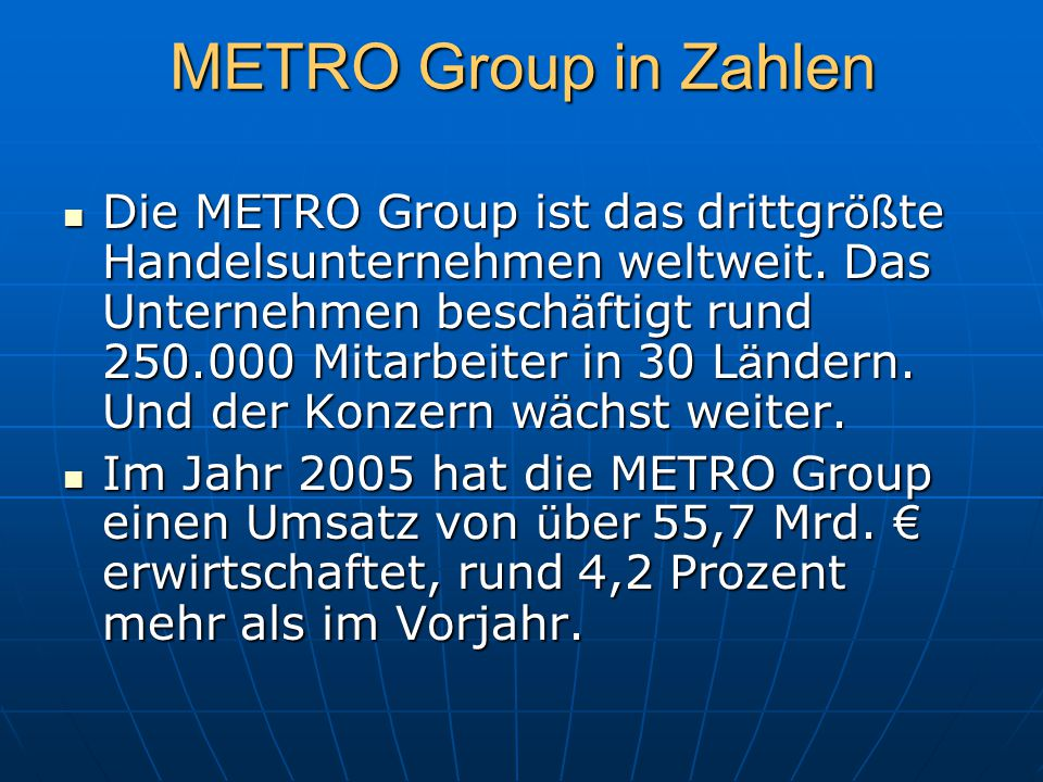 METRO Group in Zahlen