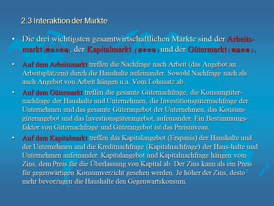 2.3 Interaktion der Märkte