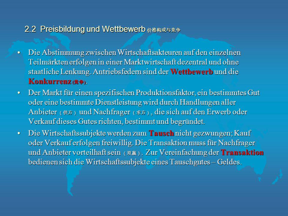 2.2 Preisbildung und Wettbewerb 价格构成与竞争