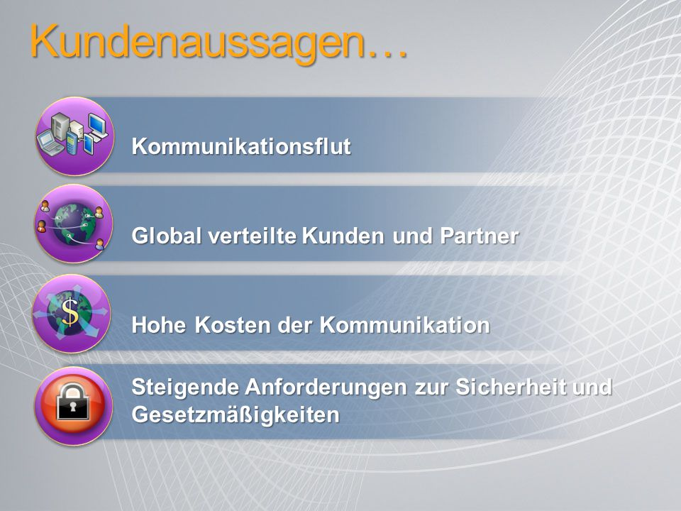 Kundenaussagen… Kommunikationsflut Global verteilte Kunden und Partner