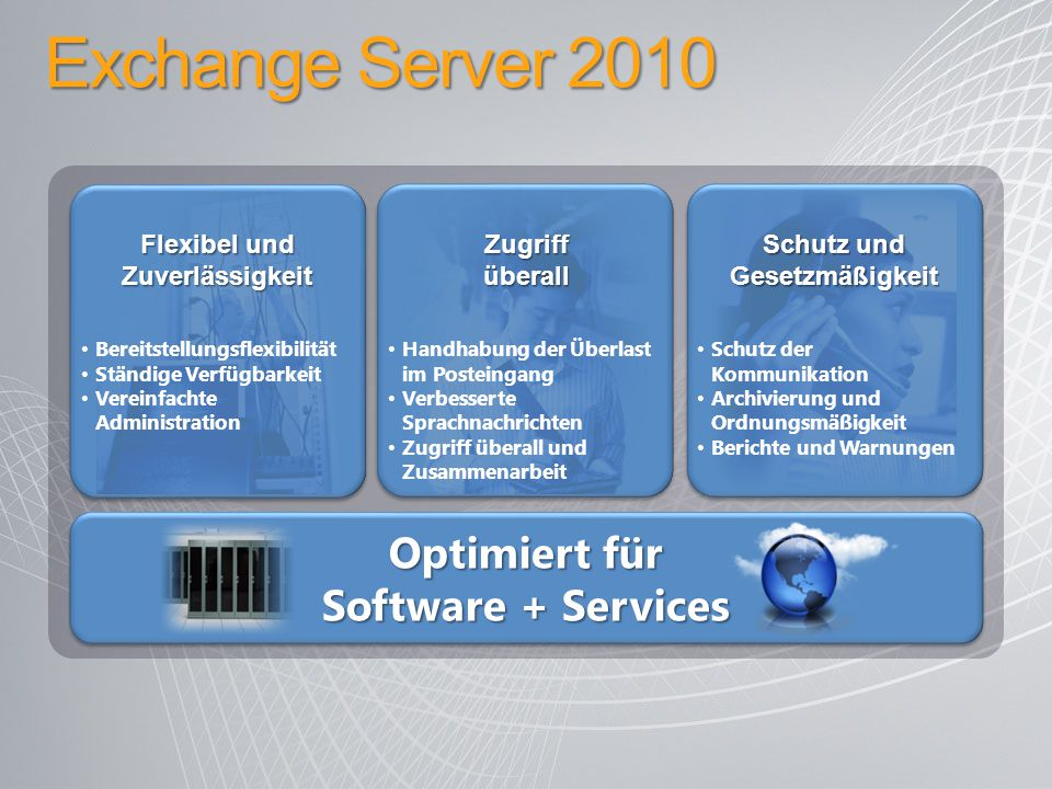 Exchange Server 2010 Optimiert für Software + Services