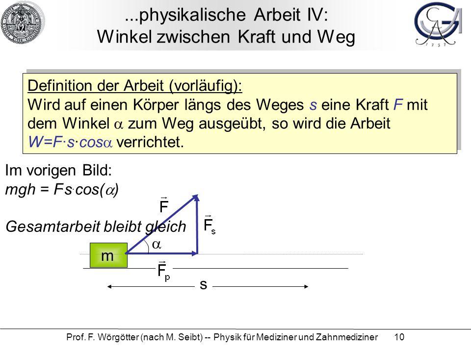 ...physikalische Arbeit IV: Winkel zwischen Kraft und Weg