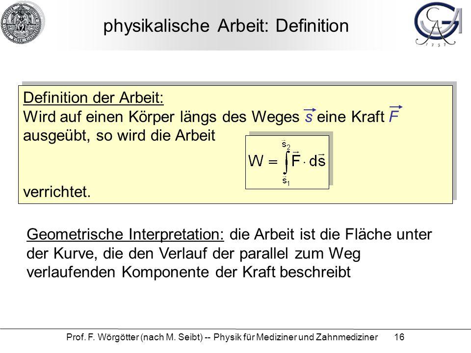physikalische Arbeit: Definition