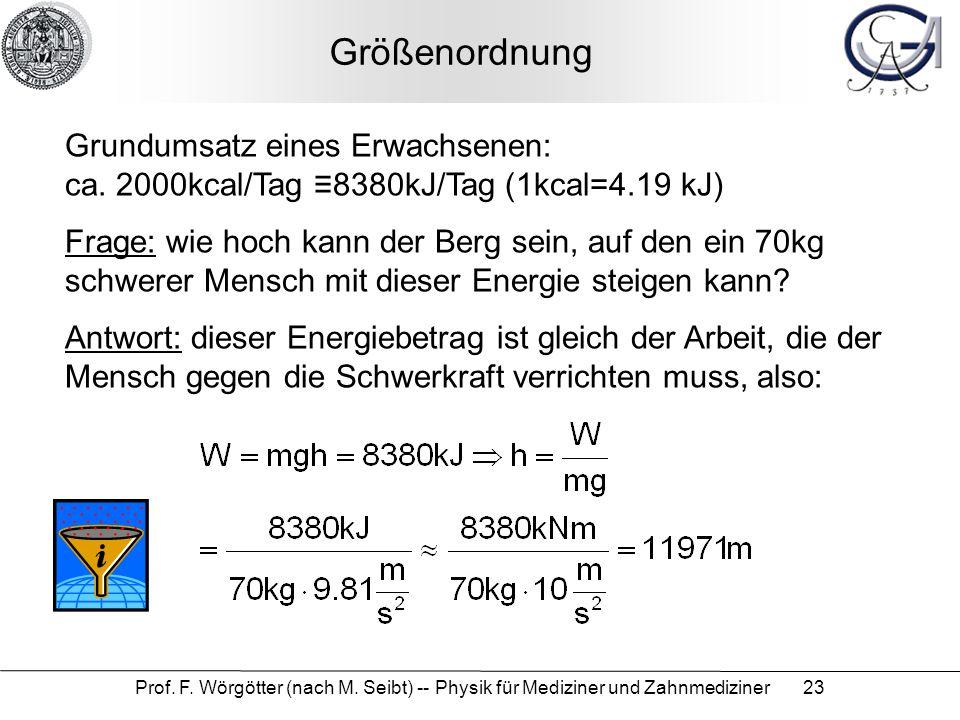 Größenordnung Grundumsatz eines Erwachsenen: ca. 2000kcal/Tag ≡8380kJ/Tag (1kcal=4.19 kJ)