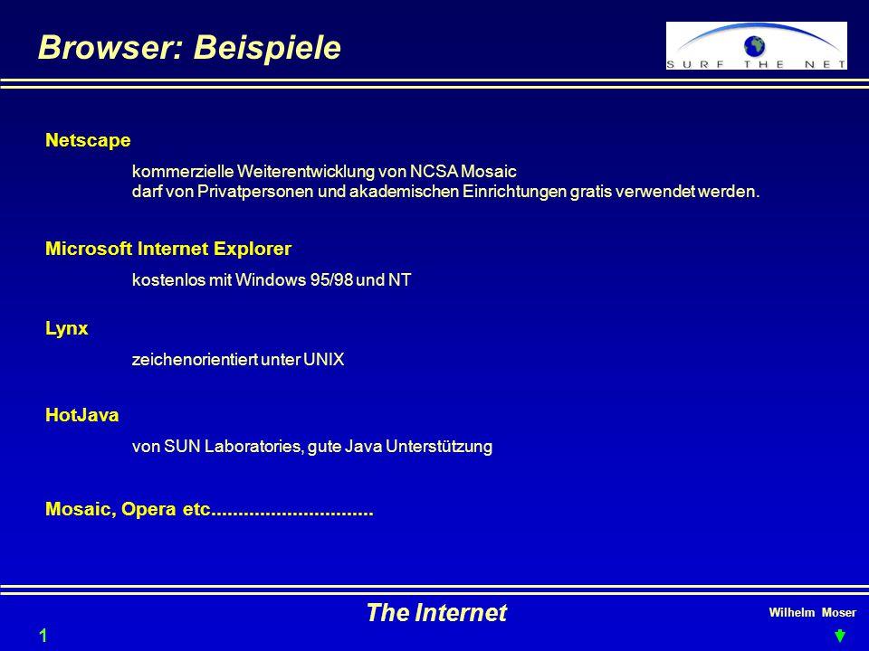 Browser: Beispiele The Internet Netscape Microsoft Internet Explorer