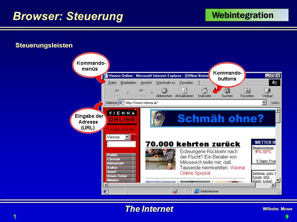 Browser: Steuerung Steuerungsleisten The Internet Wilhelm Moser 1515
