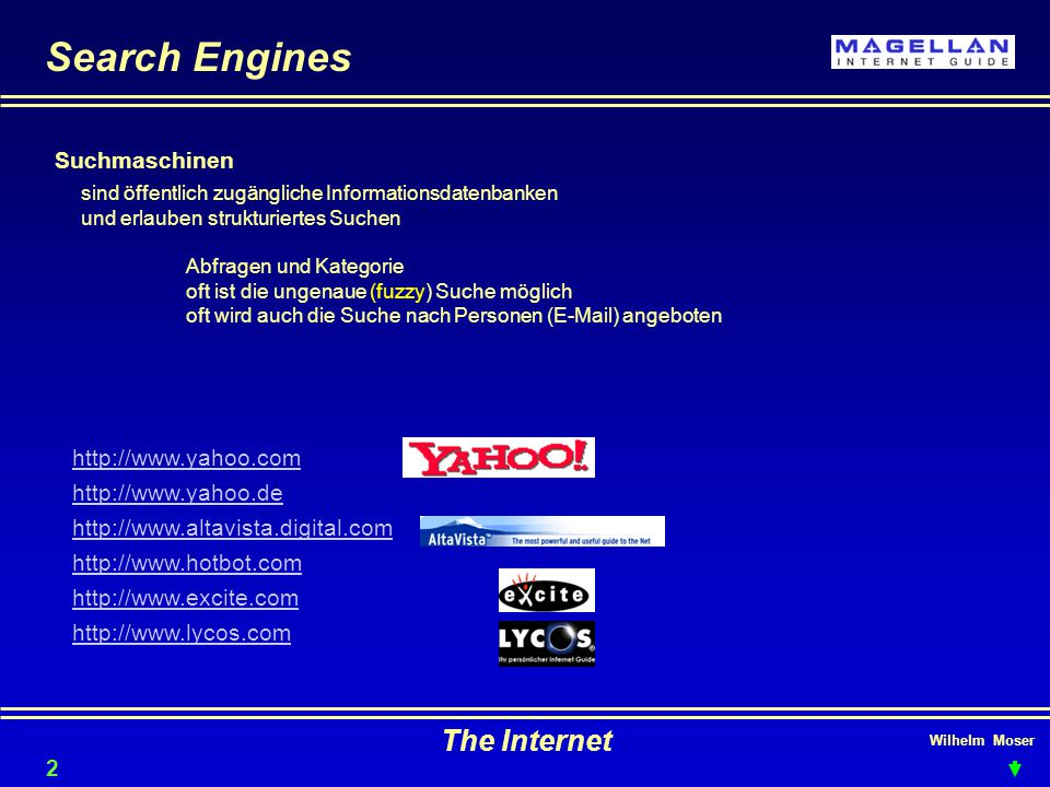 Search Engines The Internet Suchmaschinen http://www.yahoo.com