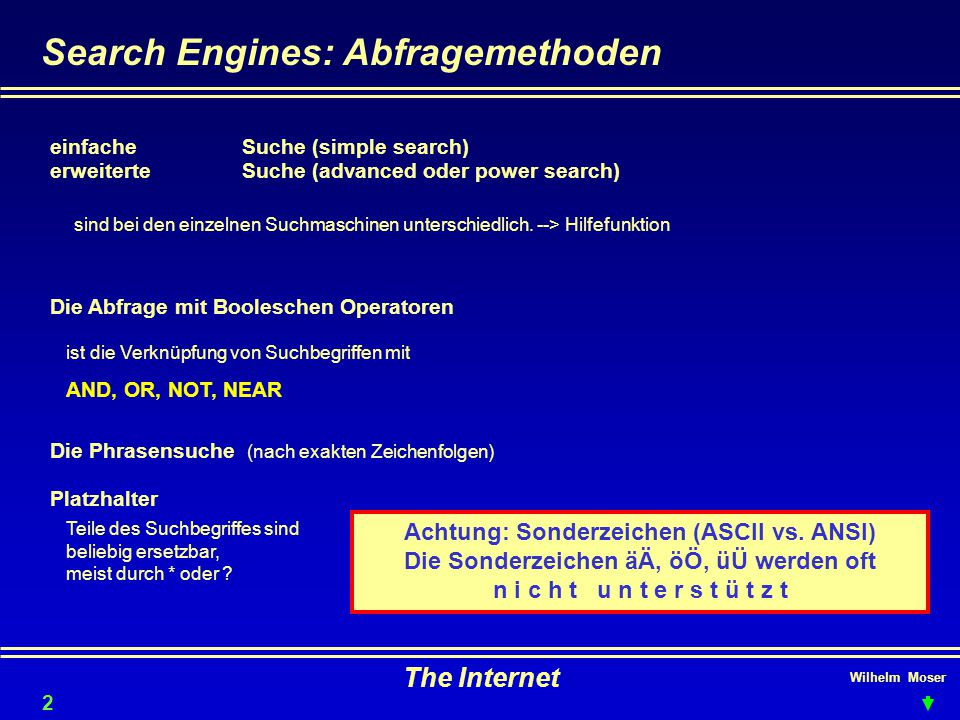 Search Engines: Abfragemethoden