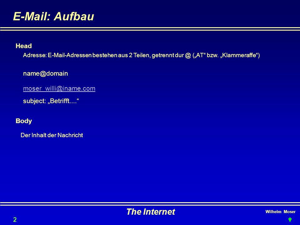 E-Mail: Aufbau The Internet Head name@domain moser_willi@iname.com