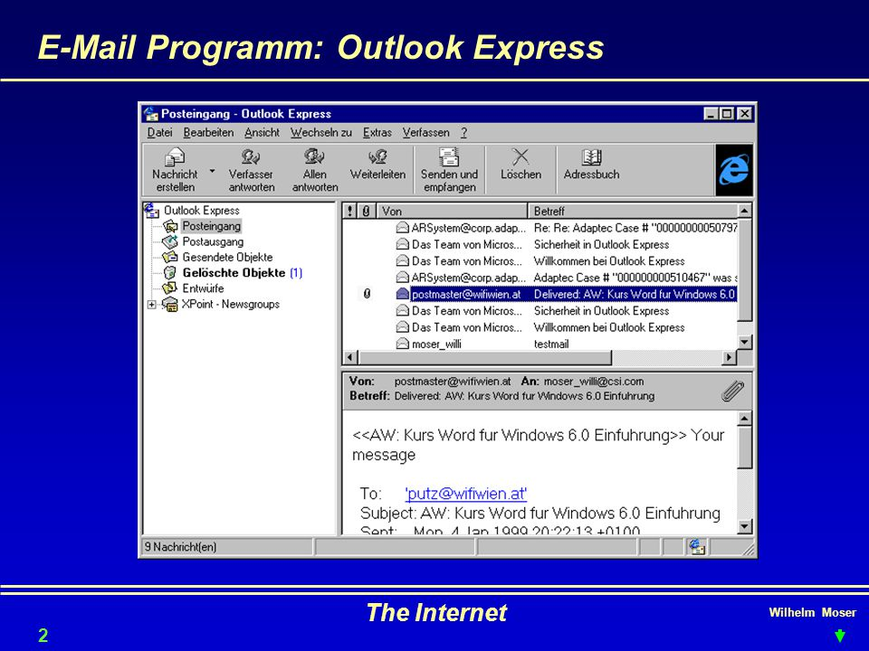 E-Mail Programm: Outlook Express