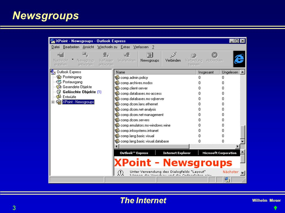 Newsgroups The Internet Wilhelm Moser 3232
