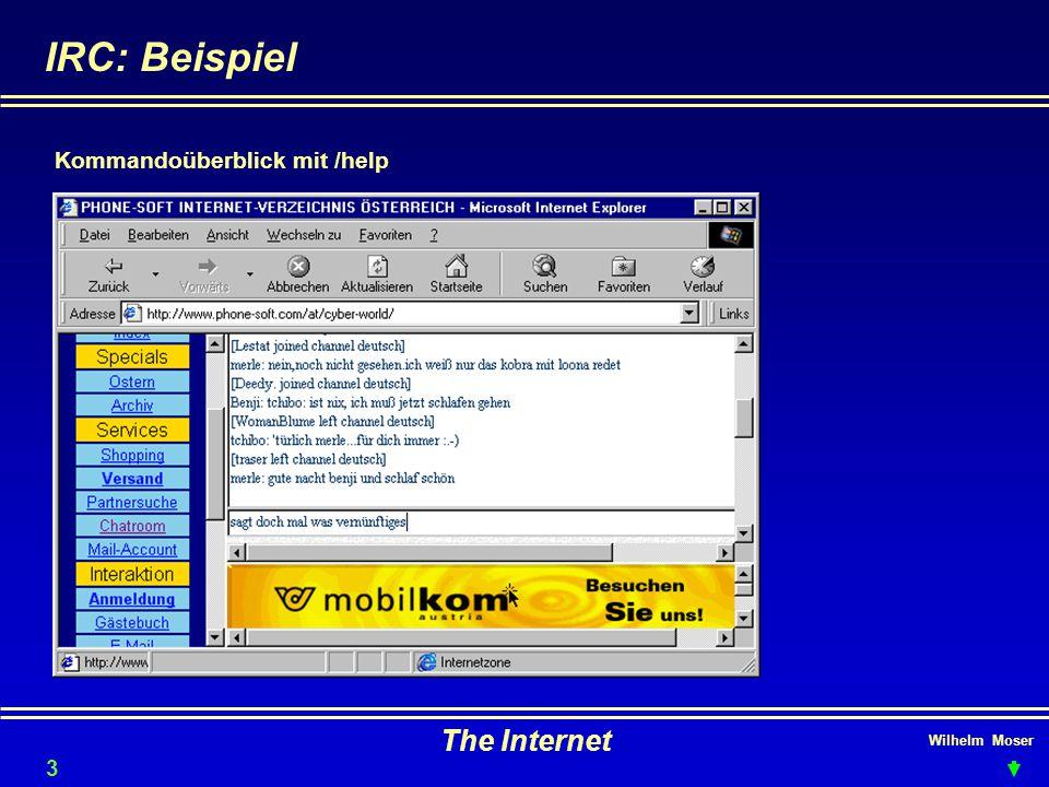 IRC: Beispiel The Internet Kommandoüberblick mit /help 3434