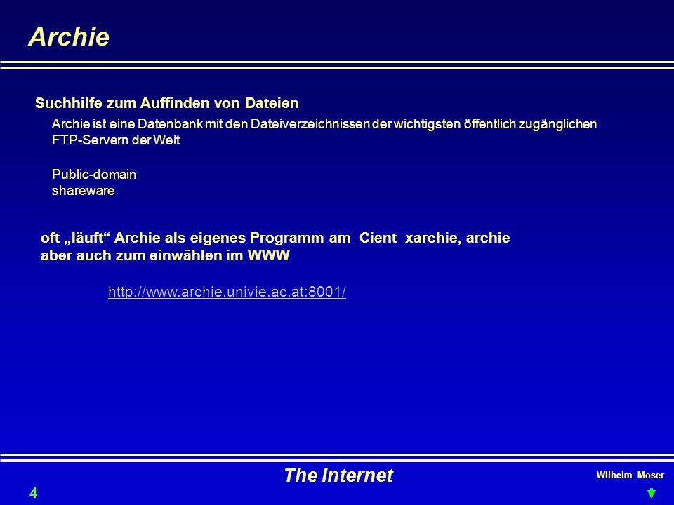 Archie The Internet Suchhilfe zum Auffinden von Dateien