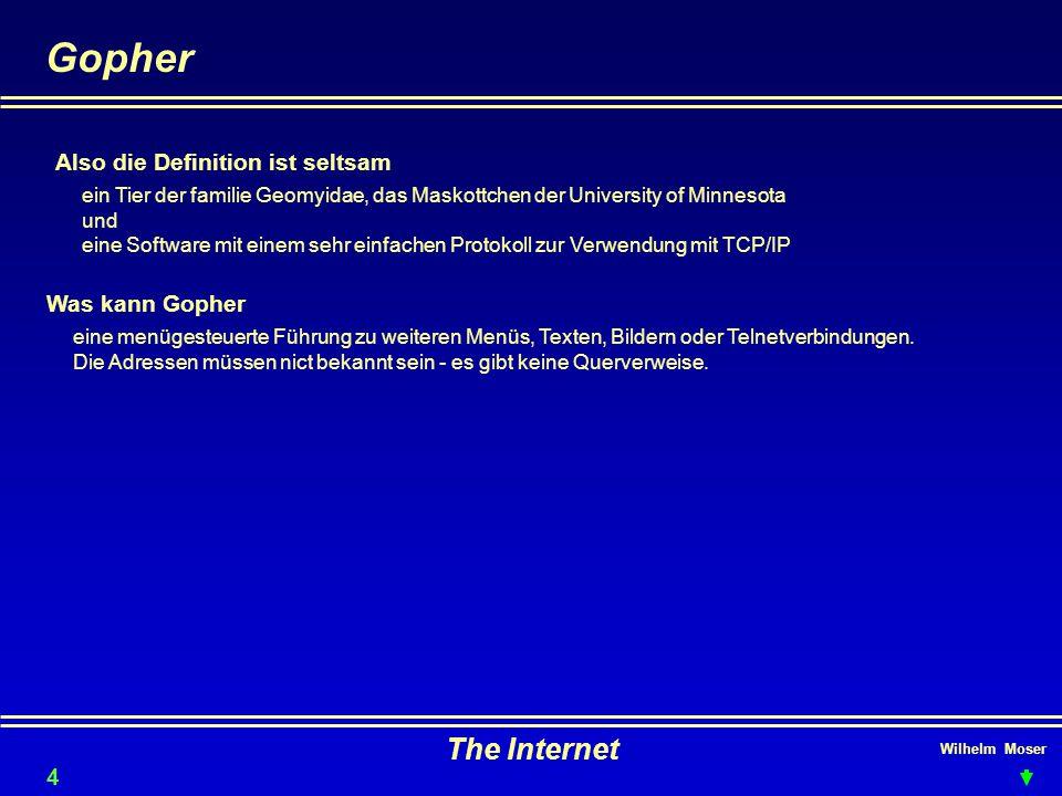 Gopher The Internet Also die Definition ist seltsam Was kann Gopher