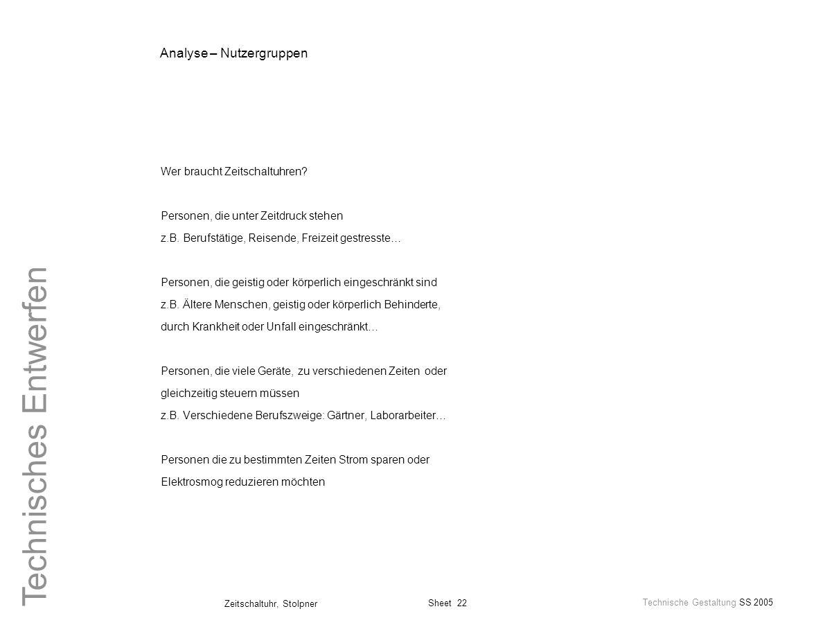 Analyse – Nutzergruppen