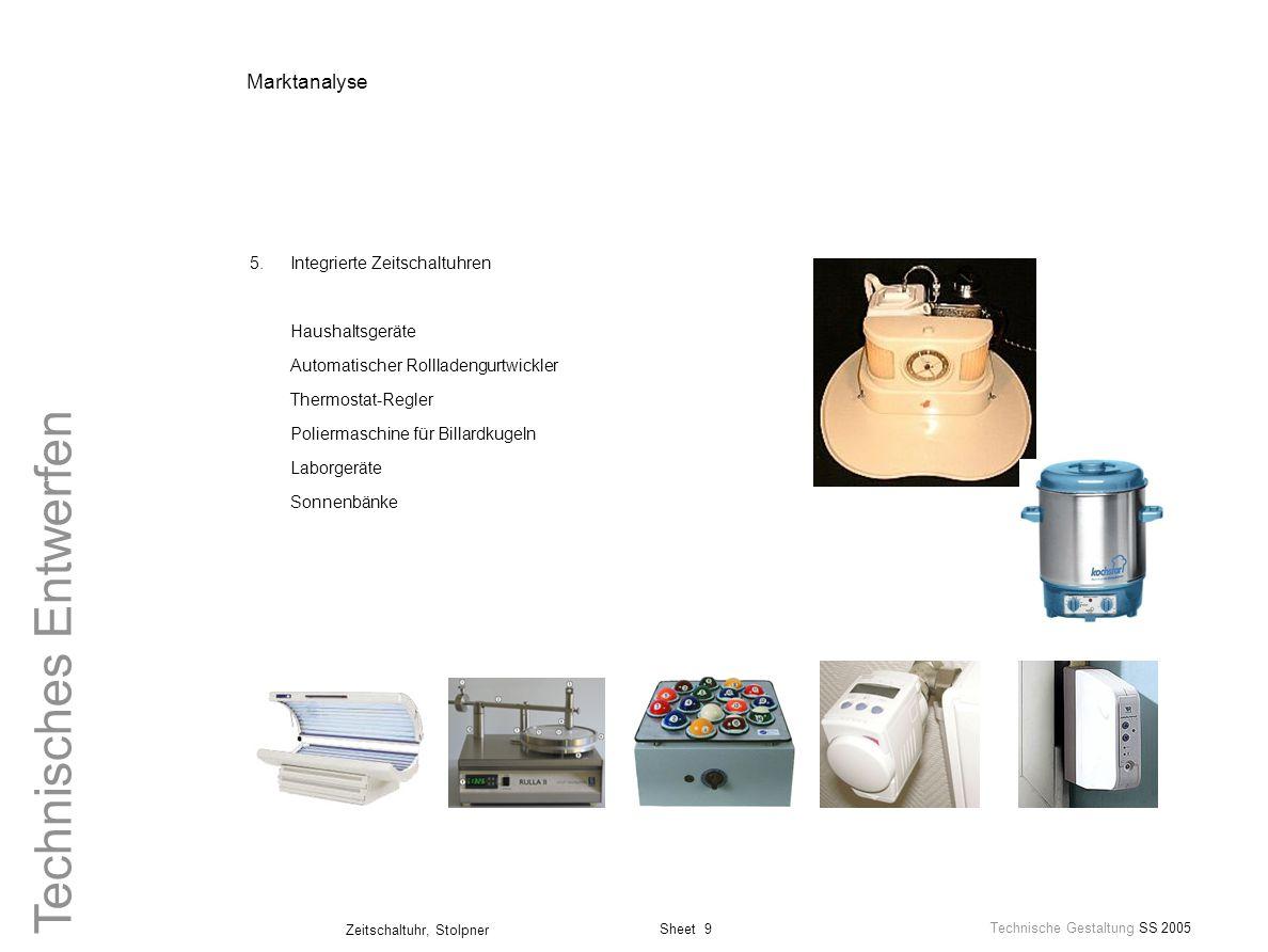 Marktanalyse 5. Integrierte Zeitschaltuhren Haushaltsgeräte