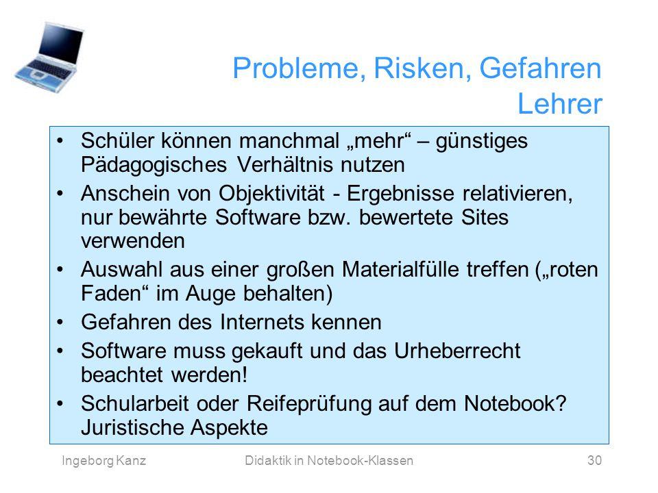 Probleme, Risken, Gefahren Lehrer
