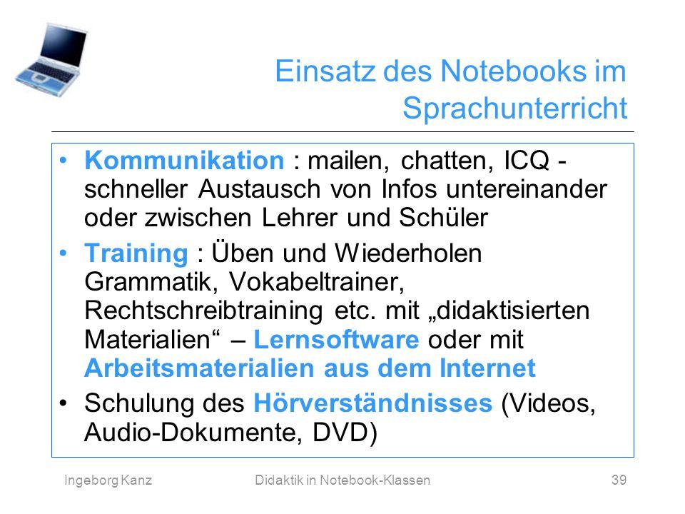 Einsatz des Notebooks im Sprachunterricht