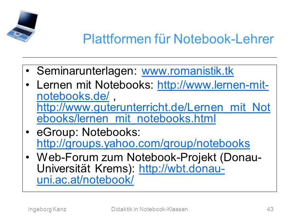 Plattformen für Notebook-Lehrer