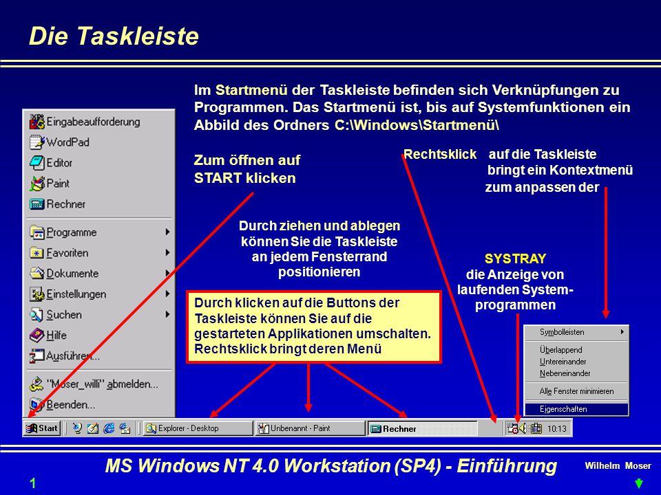 Die Taskleiste MS Windows NT 4.0 Workstation (SP4) - Einführung
