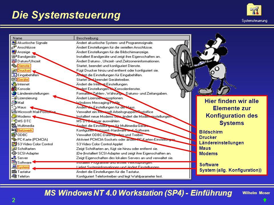 Die Systemsteuerung MS Windows NT 4.0 Workstation (SP4) - Einführung