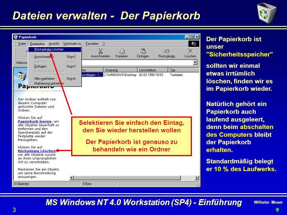 Dateien verwalten - Der Papierkorb