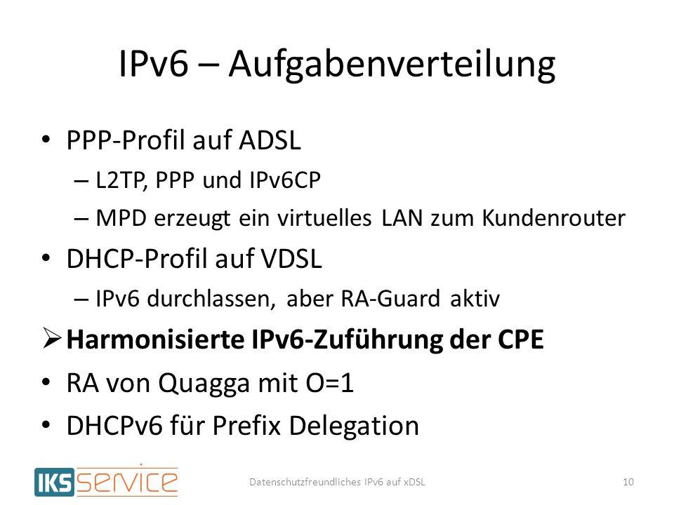 IPv6 – Aufgabenverteilung